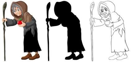 Old witch character set vector