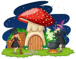 jóvenes brujas con casa de setas