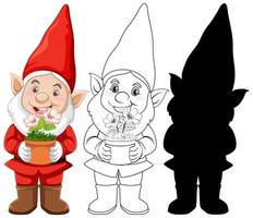 Red gnome character set vector