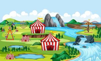 carnaval al aire libre junto a un río. vector