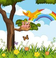 pájaros al aire libre con arco iris