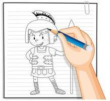 Doodle de un niño disfrazado de guerrero
