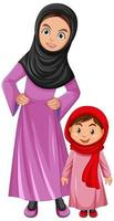 Cartoon Middle Eastern mother and daughter