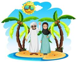 Middle eastern couple on vacation vector