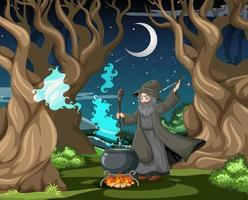 Wizard with a magic cauldron outdoors
