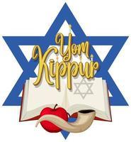 banner feliz do yom kippur com shofar