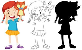 Girl playing with puppet set vector