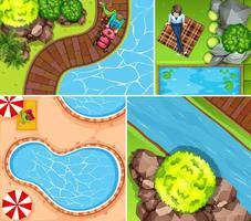 Set of top view scenes vector