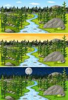 Nature landscape at different times of the day vector