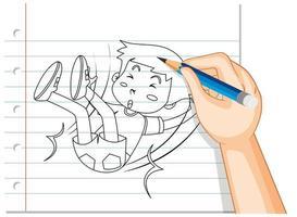doodle de un niño cayendo vector