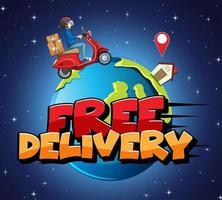 design de entrega gratuita com mensageiro vetor