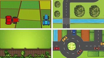conjunto de escenas aéreas rurales. vector