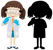 Girl in a scientist costume set vector