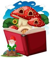 Gnome and mushroom house on a pop book