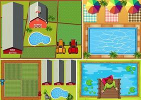 Set of top view farm scenes