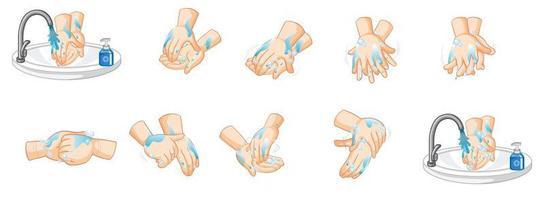 conjunto de diseño de lavado de manos vector