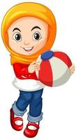 Muslim girl holding a ball vector
