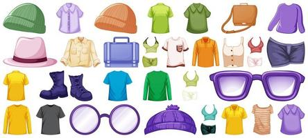 Set of fashion outfits and accessories  vector