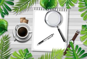 Table top view with coffee and office objects