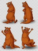 Set of a cute otter character  vector