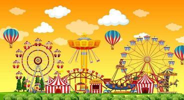 Amusement park background scene vector