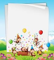 tarjeta de fiesta de monos o plantilla de banner vector
