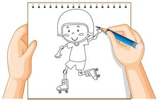 Hands drawing a boy in roller skates vector