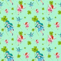 Fairies and clovers seamless pattern background