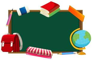 Blackboard and other school objects background  vector