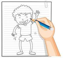 doodle de un niño saludando