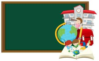 Blackboard frame and children learning at school template