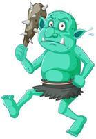 Cartoon green goblin with a weapon vector