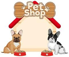 banner de tienda de mascotas con bulldogs franceses