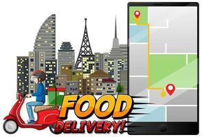 concepto de entrega de alimentos con un mensajero en motocicleta