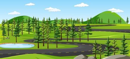 Curvy road landscape background vector