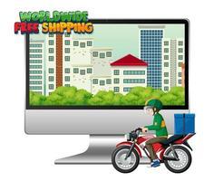 computadora con un mensajero en motocicleta y letras de entrega vector
