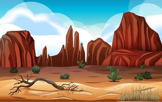 Desert with rock mountains landscape at day scene