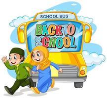 crianças estudantes muçulmanas voltando para a escola