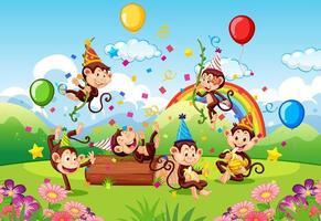 Monkeys having a birthday party outdoors vector