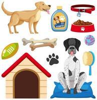 accesorios para perros y conjunto de elementos de tienda de mascotas. vector