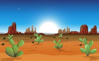 Desert with rock mountains and cactus landscape at day time scene vector