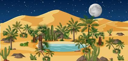 Desert oasis landscape at night