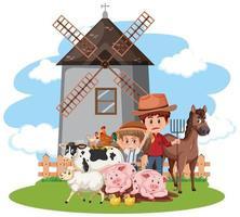 escena de personajes de granja vector