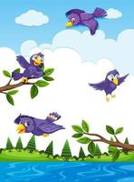Bird characters flying outdoors