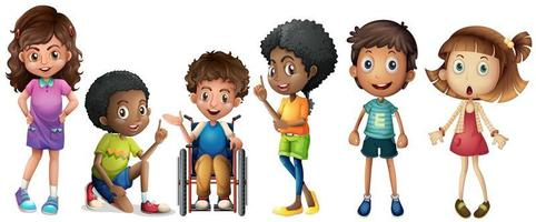 A group of diverse kids vector