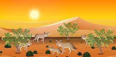 Desert landscape background with coyotes