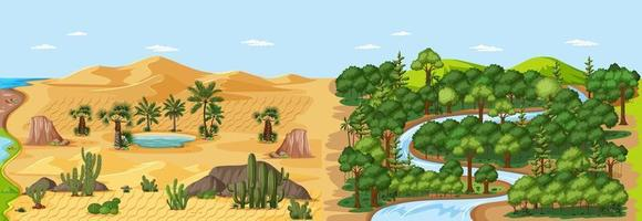 Forest landscape and desert dunes with oasis