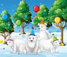 Polar bear group having a party outdoors