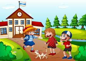 Children playing with a dog vector