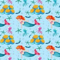 Underwater and mermaid seamless pattern background